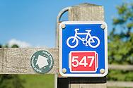 Sustrans metal NCN waymarker sign (Route 547)