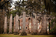 Old Sheldon Church ruins, also known as the Prince William's Parish Church near Yemassee, South Carolina. The church build in 1745 was destroyed by the British troops during the  Revolutionary War, rebuilt and then destroyed again in 1865 by Gen. Sherman.