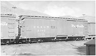 """Box car #3302 in yard at Salida, CO.  """"Flour, Sugar, and Bean Loading Only.""""<br /> D&RGW  Salida, CO  ca 1941"""