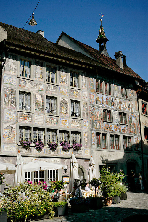 A sunny view of the Hotel and Restaurant Adler. Located in historic, medieval Stein am Rhine, Switzerland.
