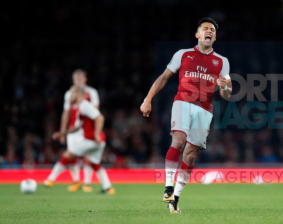 Arsenal's Alexis Sanchez looks on dejected after Jack Wilshere doesn't find him with a pass during the Carabao cup match at the Emirates Stadium, London. Picture date 20th September 2017. Picture credit should read: David Klein/Sportimage
