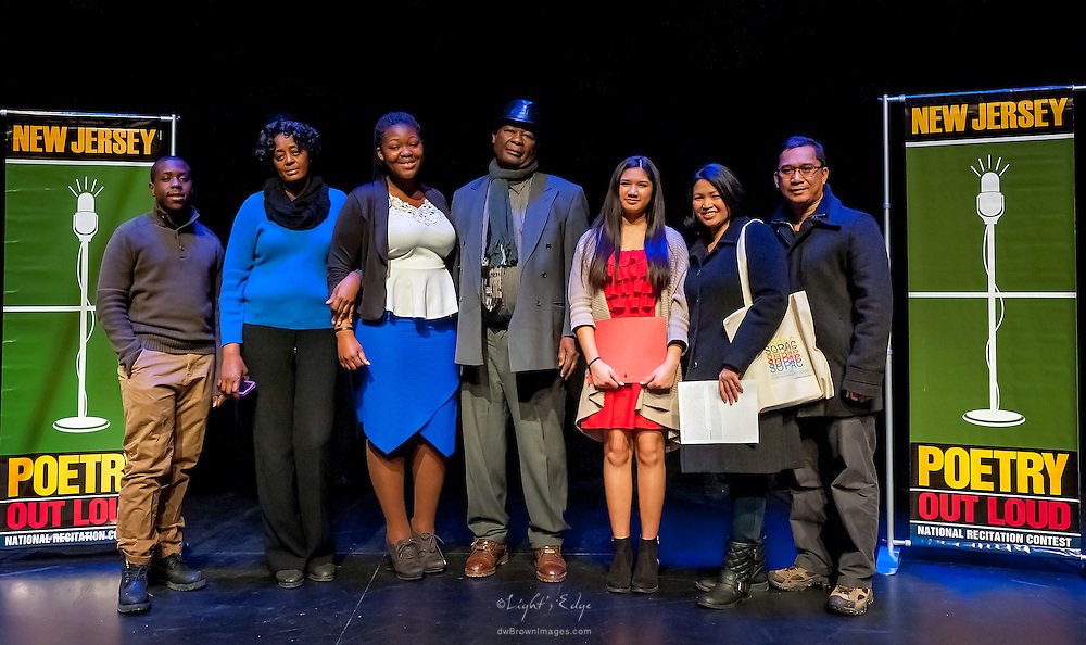 The winners of The  Poetry Out Loud, Regional 5,  competition at SOPAC with their famiilies.