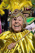 Hackney Carnival on 8th September 2019 in London, United Kingdom. Smiling elderly woman taking part in parade as part of Paracarnaval.