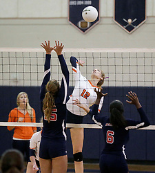 October 26, 2017 - Florida, U.S. - From left to right Miami Country Day's #15 Sofia Nores, Benjamin's #12 Katy Blain, and Miami Country Day's #6 Yakira Wardlaw during the Class 4A girls volleyball regional semifinal between Miami Country Day and Benjamin at The Benjamin School in Palm Beach Gardens Thursday, October 26, 2017. (Credit Image: © Bruce R. Bennett/The Palm Beach Post via ZUMA Wire)