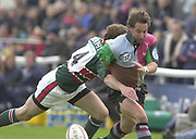 Twickenham, Surrey, England,  UK., 14/05/2003,  Ben Gollings, attacks on the wing, running through for a try, during, the Zurich Premiership Rugby match, NEC Harlequins vs Leicester Tigers, played at the Stoop Memorial Ground, [Mandatory Credit: Peter Spurrier/Intersport Images]