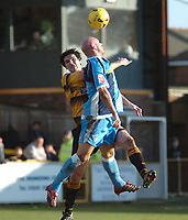 Photo: Ian Hebden.<br />Boston United v Wycombe Wanderers. Coca Cola League 2. 18/02/2006.<br />Boston's Mark Greaves (L) and Wycombe's Tom Mooney (R).