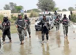 June 22, 2017 - Pakistan - SIALKOT, PAKISTAN, JUN 22: Punjab Rangers officials conducting intelligence based search .operation against terrorists in Mandi Bahauddin area of Sialkot on Thursday, June 22, 2017. (Credit Image: © PPI via ZUMA Wire)