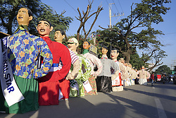 November 18, 2018 - Angono, Rizal, Philippines - The Higantes, giant caricatures, parades around the town of Angono, Rizal. This year there is about 180 higantes around town. (Credit Image: © George Buid/ZUMA Wire)