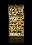 Medieval ivory relief panel depicting the arrest of Christ.  From the workshop of Charles-le-Chauve circa 870 AD.. Inv. OA 9526, The Louvre Museum, Paris. .<br /> <br /> If you prefer you can also buy from our ALAMY PHOTO LIBRARY  Collection visit : https://www.alamy.com/portfolio/paul-williams-funkystock/romanesque-art-antiquities.html . Type -   Louvre   - into the LOWER SEARCH WITHIN GALLERY box. Refine search by adding background colour, place, museum etc<br /> <br />  Visit our MEDIEVAL PHOTO COLLECTIONS for more   photos  to download or buy as prints https://funkystock.photoshelter.com/gallery-collection/Medieval-Romanesque-Art-Antiquities-Historic-Sites-Pictures-Images-of/C0000uYGQT94tY_Y