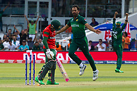 Cricket - 2019 ICC Cricket World Cup - Group Stage: Pakistan vs. Bangladesh<br />  <br /> Wahab Riaz celebrates the dismissal of  Mushfiqur Rahim (WK)<br /> at Lord's<br /> <br />  colorsport/winston bynorth