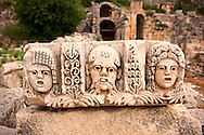 Relief sculpture freeze from the Roman theatre of Myra, Anatolia, Turkey .<br /> <br /> If you prefer to buy from our ALAMY PHOTO LIBRARY  Collection visit : https://www.alamy.com/portfolio/paul-williams-funkystock/myra-lycian-tombs-turkey.html<br /> <br /> Visit our CLASSICAL WORLD HISTORIC SITES PHOTO COLLECTIONS for more photos to download or buy as wall art prints https://funkystock.photoshelter.com/gallery-collection/Classical-Era-Historic-Sites-Archaeological-Sites-Pictures-Images/C0000g4bSGiDL9rw