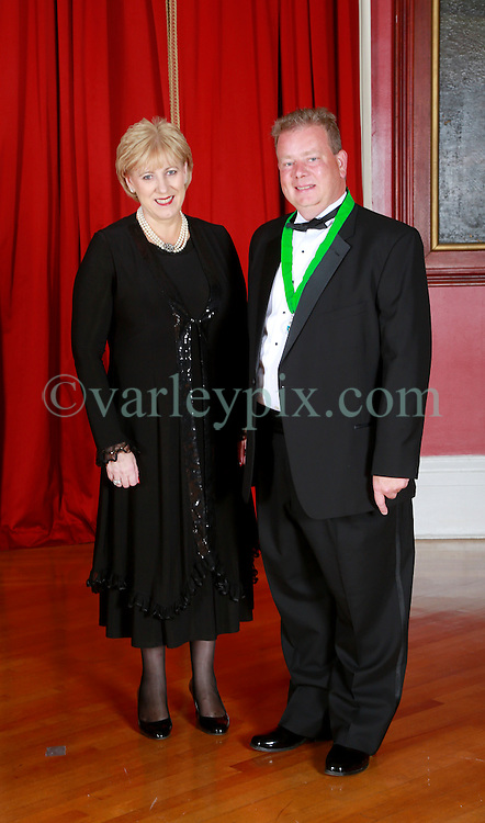 08 November 2014. New Orleans, Louisiana. <br />  2014 International Irish Famine Commemoration, Gallier Hall.<br /> Heather Humphreys, Irish Fine Gael politician and the Minister for Arts, Heritage and the Gaeltacht with Adrian D'Arcy, President of the Irish Network, New Orleans.<br /> Photo; Charlie Varley/varleypix.com