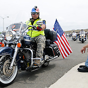 Participant in the annual Rolling Thunder motorcycle rally through downtown Washington DC on May 29, 2011. This shot was taken as the riders were leaving the staging area in the Pentagon's north parking lot, where thousands of bikes and riders had gathered.