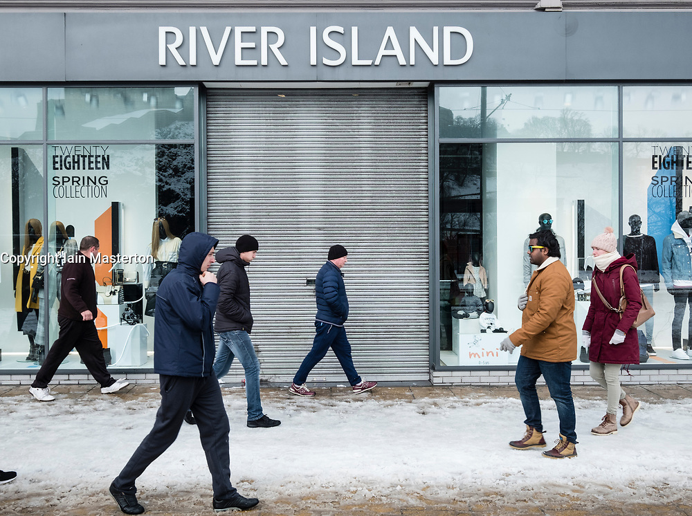 Edinburgh, Scotland, United Kingdom, 1 March, 2018. Heavy snowfalls continue across the city from the storm known as The Beast from the East. Most shops are closed and transport services have been cancelled. Pictured, River Island Shop closed on Princes Street,