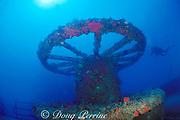 huge wheel on foredeck of Thunderbolt wreck, Marathon, Florida Keys ( Western Atlantic Ocean )