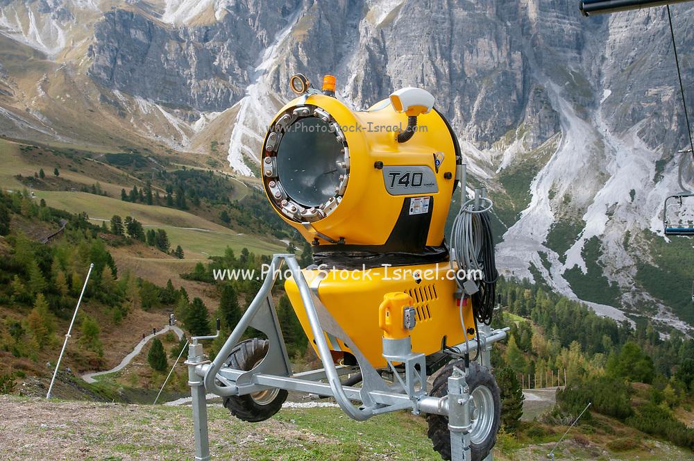 Yellow snow cannon. Photographed at the Schlick 2000 ski centre, Stubai, Tyrol, Austria in September