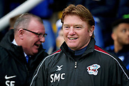 Scunthorpe Manager Stuart McCall sharing a joke before the EFL Sky Bet League 1 match between Peterborough United and Scunthorpe United at London Road, Peterborough, England on 1 January 2019.