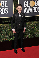 Noah Schnapp at the 75th Golden Globe Awards held at the Beverly Hilton in Beverly Hills, CA on January 7, 2018.<br /><br />(Photo by Sthanlee Mirador)