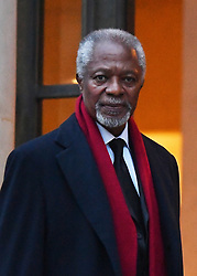 """File Photo - Former Secretary-General of the United Nations, Kofi Annan gestures as he arriving for the Climate Summit in Paris, France, on December 11, 2017, on the eve of the """"One Planet Summit"""". Two years to the day after 195 nations adopted the Paris Agreement, the French President will convene a follow-up climate summit on December 12 to jump-start the lagging transition to a greener global economy. Kofi Annan, the former UN secretary-general who won the Nobel Peace Prize for humanitarian work, has died aged 80, his aides say. Photo by Christian Liewig/ABACAPRESS.COM"""