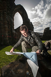 Historian Ashley Cowie pictured around Kilwinning Abbey. He is doing a seven part series for The Scottish Sun on Scotland's treasure hunts at the end of April..©Michael Schofield..