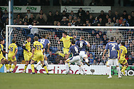 Cardiff City's Roger Johnson (12)  scores his goal just before half-time. Coca Cola championship, Cardiff city v Preston NE at Ninian Park on Sat 6th Dec 2008. pic by Andrew Orchard,Andrew Orchard sports photography