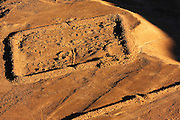 Israel, Masada, Remnants of one of several legionary camps at Masada, just outside the circumvallation wall as seen from above.