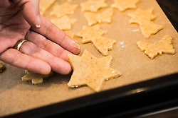 Close-up of a man placing star shaped cookies on baking sheet in a baking tray, Munich, Bavaria, Germany