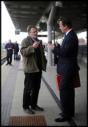 The Prime Minister David Cameron at Derby Station after launching the Local elections in Afreton, UK, April 16, 2012. Photo By Andrew Parsons / i-Images.