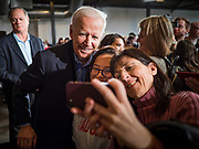 23 NOVEMBER 2019 - DES MOINES, IOWA: Former Vice President JOE BIDEN poses for selfies with supporters after making a speech at a campaign event in Des Moines Saturday. Vice President Biden announced that Tom Vilsack, the former Democratic governor of Iowa, endorsed him. Biden and Vilsack appeared with their wives at an event in Des Moines. Iowa hosts the first presidential selection event of the 2020 election cycle. The Iowa caucuses are on February 3, 2020.         PHOTO BY JACK KURTZ