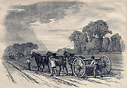 Horse-drawn seed drill, 1846.