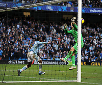 Shaun Wright Phillips and Joe Hart clear off the line after Wayne Rooney Chip Manchester United<br /> Manchester City 2008/09<br /> Michael Carrick Manchester United<br /> Manchester City V Manchester United (0-1) 30/11/08<br /> The Premier League<br /> Photo Robin Parker Fotosports International