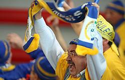 Fans of Rulmentul-Urban at handball match of 1/4 finals of Women handball Cup Winners cup between RK Krim Mercator, Ljubljana and C.S. Rulmentul-Urban Brasov, Romania, in Arena Kodeljevo, Ljubljana, Slovenia, on 8th of March 2008. Rulmentul-Urban won match against RK Krim Mercator with 29:27.