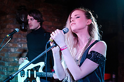 © Licensed to London News Pictures. 06/05/2012. London, UK. Kyla La Grange performs live at The Wheelbarrow, Camden, during the second day of the two day festival The Camden Crawl.  Kyla La Grange is a 24-year-old singer from Watford.  Photo credit : Richard Isaac/LNP