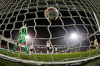 The ball hits the back of the net as Leeds United's Sam Byram scores his sides first goal  <br /> <br /> Photographer Craig Mercer/CameraSport<br /> <br /> Football - The Football League Sky Bet Championship - Fulham v Leeds United - Wednesday 18th March 2015 - Craven Cottage - London<br /> <br /> © CameraSport - 43 Linden Ave. Countesthorpe. Leicester. England. LE8 5PG - Tel: +44 (0) 116 277 4147 - admin@camerasport.com - www.camerasport.com