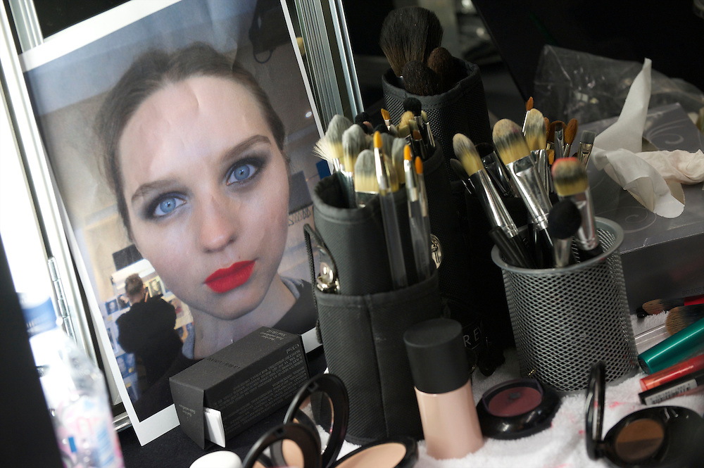 A photograph of properly applied make-up guides stylists before the Temperley autumn 2011 collection at The British Museum in London on 20 February 2011.