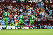 Yann M'Vila of Sunderland (21) celebrates after he scores his teams 1st goal. Barclays Premier League match, Aston Villa v Sunderland at Villa Park in Birmingham, Midlands on Saturday 29th August  2015.<br /> pic by Andrew Orchard, Andrew Orchard sports photography.