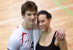 Jan Planinc with his girlfriend after the volleyball match between National Teams of Slovenia and Belgium of 2011 CEV Volleyball European League Men - Pool A, on July 9, 2011, in  Arena Ljudski vrt Lukna, Maribor, Slovenia. Slovenia defeated Belgium 3-1. (Photo by Vid Ponikvar / Sportida)