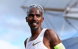 Mo Farah after winning the men's race during the Vitality Big Half in London.
