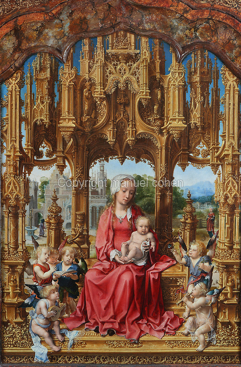 Madonna Col Bambino tra angeli, Santa Dorotea y Santa Caterina d'Alessandria, or Virgin and child with angels, St Dorothy and St Catherine of Alexandria, detail, by Jan Gossaert known as Jan Mabuse, 1478-1532, gift of Alessandro Migliaccio, prince of Malvagna, in the Galleria Regionale della Sicilia, or Gallery of Art for the Sicilian region, in the Palazzo Abatellis, designed by Matteo Carnelivari in Gothic-Catalan style, 15th century, on the Via Alloro in the Kalsa district of Palermo, Sicily, Italy. The palace was originally the home of Francesco Abatellis, port master of the Kingdom of Sicily, subsequently became a monastery before opening as a museum in 1954. Picture by Manuel Cohen