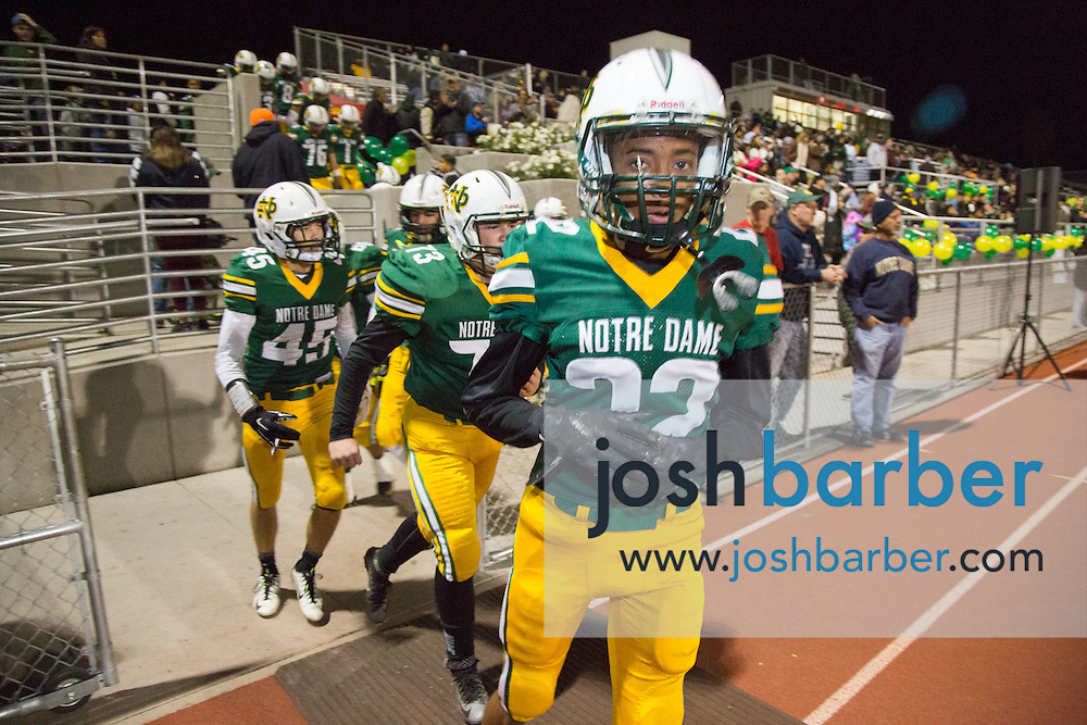 Notre Dame's Aaron Cooper during the CIF-SS Boys Football Northwest Division Semifinal at J.W. North High School on Friday, November 27, 2015 in Riverside, California. (Photo/Josh Barber)