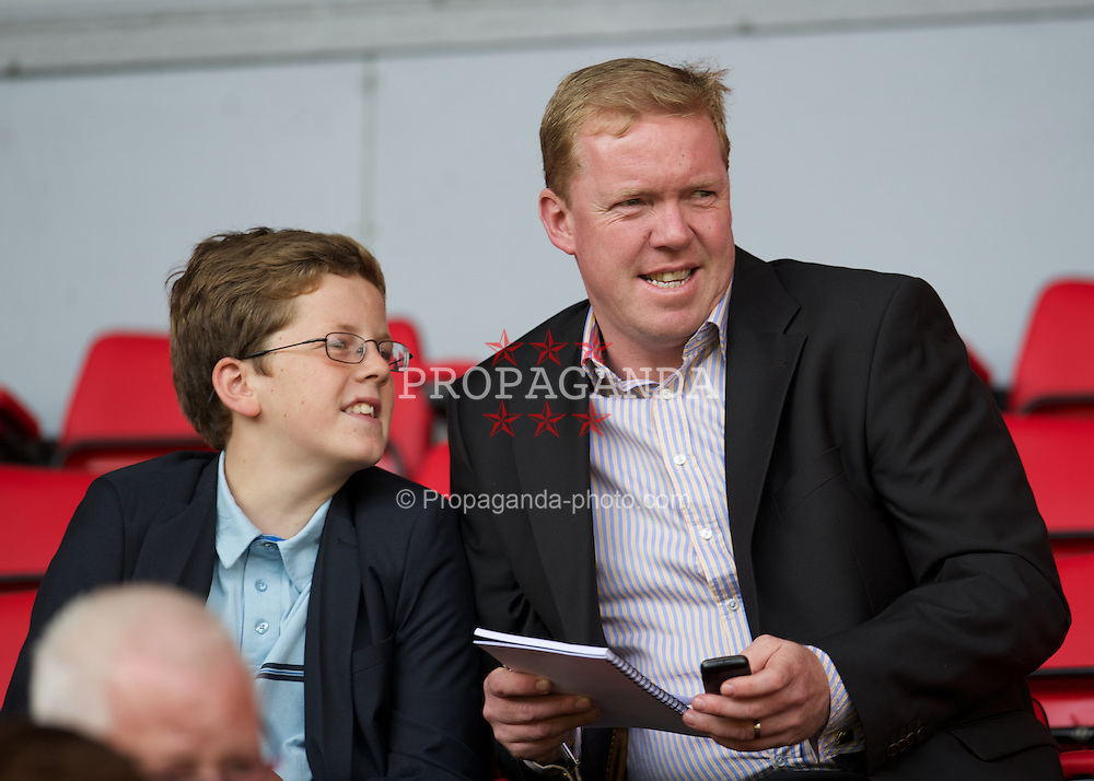 LIVERPOOL, ENGLAND - Sunday, August 12, 2012: Former Liverpool player Steve Staunton during a preseason friendly match against Bayer 04 Leverkusen at Anfield. (Pic by David Rawcliffe/Propaganda)