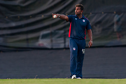 September 22, 2018 - Morrisville, North Carolina, US - Sept. 22, 2018 - Morrisville N.C., USA - Team USA ROY SILVA (43) sets the defense during the ICC World T20 America's ''A'' Qualifier cricket match between USA and Canada. Both teams played to a 140/8 tie with Canada winning the Super Over for the overall win. In addition to USA and Canada, the ICC World T20 America's ''A'' Qualifier also features Belize and Panama in the six-day tournament that ends Sept. 26. (Credit Image: © Timothy L. Hale/ZUMA Wire)