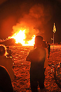 Celebrating the Jewish holiday of Lag Baomer with a bonfire