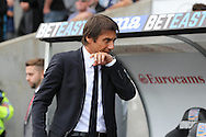 Antonio Conte, the Chelsea manager looks on from the dugout ahead of k/o.Premier league match, Swansea city v Chelsea at the Liberty Stadium in Swansea, South Wales on Sunday 11th Sept 2016.<br /> pic by  Andrew Orchard, Andrew Orchard sports photography.