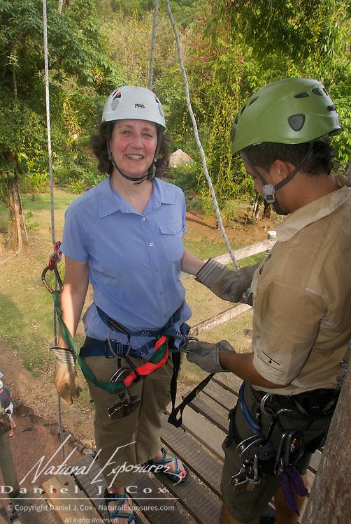 Tish gets prepared to rappel. Costa Rica.