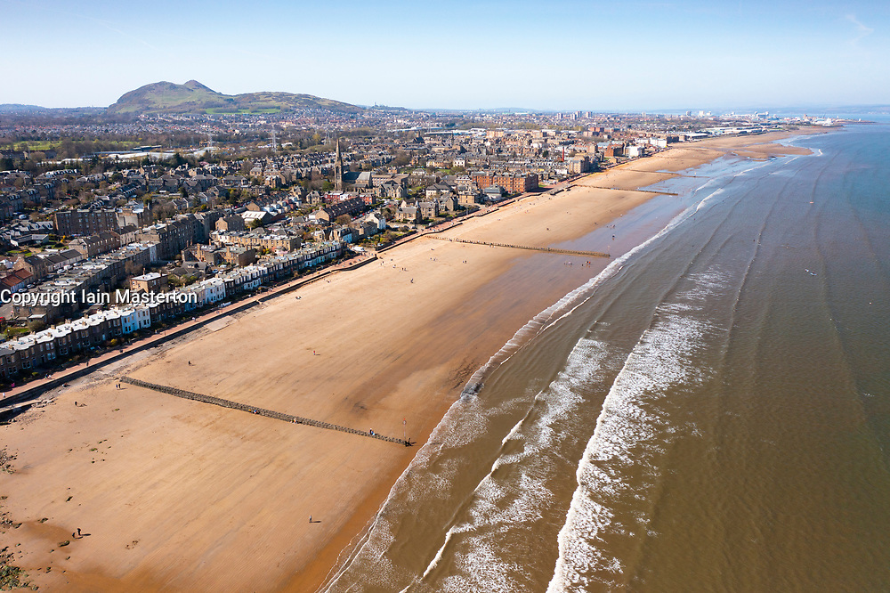 Aerial view of portobello Beach Edinburgh, Scotland, UK
