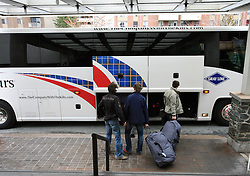 David Rodman, Anze Terlikar and Ales Kranjc at Slovenian National team packing and going from Citadel Hotel to the Halifax airport, when they finished with games at IIHF WC 2008 in Halifax, on May 11, 2008, Canada. (Photo by Vid Ponikvar / Sportal Images)