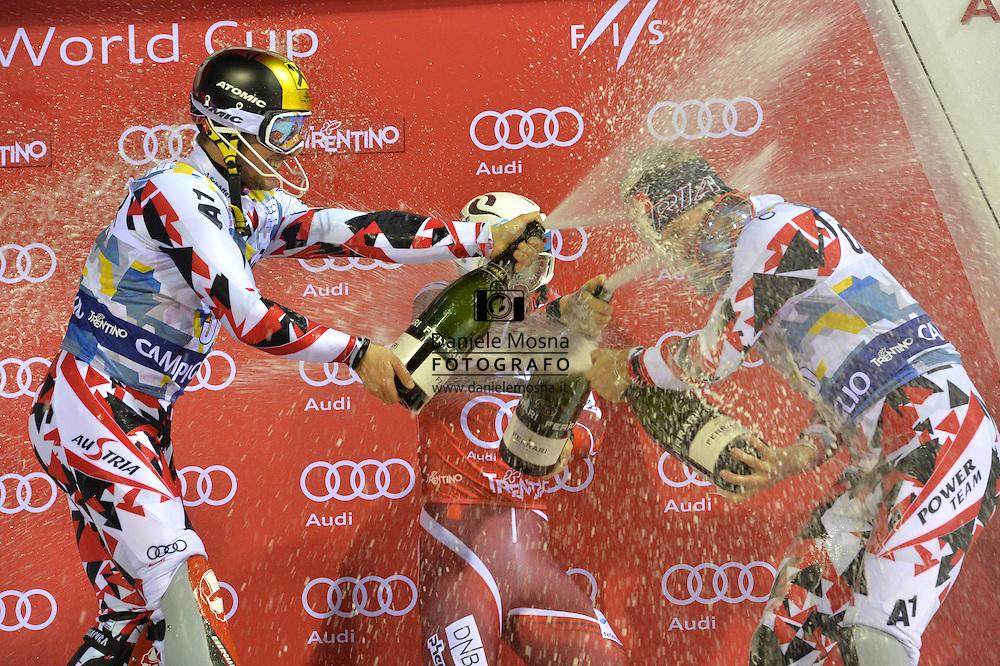 62A 3Tre Coppa del Mondo di Sci Alpino Slalom Gigante Maschile sulla pista 3Tre Canalone Miramonti,A SINISTRA HIRSCHER MARCEL KRISTOFFERSEN HENRIK SCWARZ MARCO, 22 Dicembre 2015 a Madonna di Campiglio, © foto Daniele Mosna