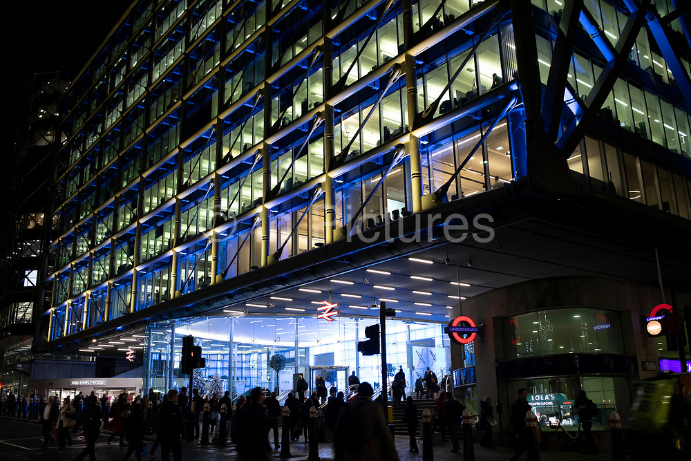 Modern glass offices at Canon Street station in the City of London on 27th November 2019 in London, England, United Kingdom. As Londons financial district grows in height, the architecture has changed the face of Londons financial district, with many different companies occupying the various floors and levels.