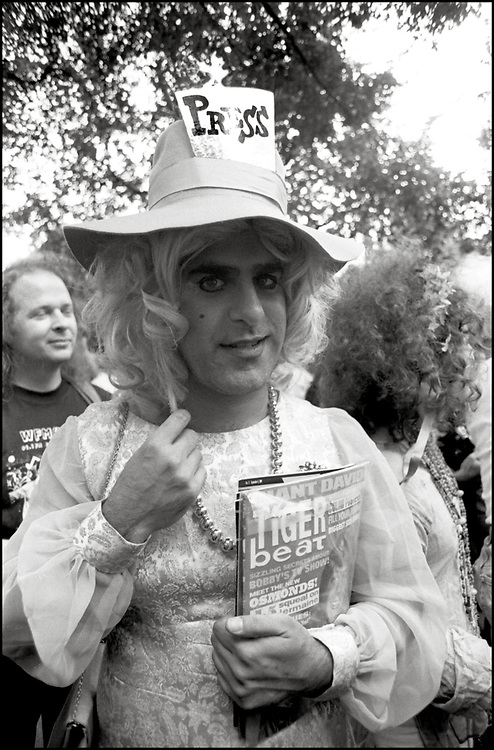 Jay Blotcher at Wigstock, an annual outdoor drag festival that began in the 1980s in Tompkins Square Park in the East Village of New York City that took place on Labor Day in 1989.